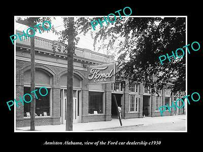 OLD LARGE HISTORIC PHOTO OF ANNISTON ALABAMA, THE FORD MOTORS GARAGE c1930