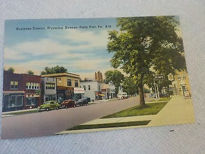 Postcard Business District Wyoming Ave. Forty Fort Pa.