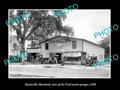 OLD LARGE HISTORIC PHOTO OF HYATTSVILLE MARYLAND, THE FORD CAR GARAGE c1930