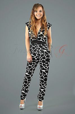 Womens ladies party top playsuit romper jumpsuit white black new geo size 10 12.