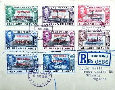 1946 Falkland Is. South Georgia reg cover with 6d. blue-black & purple-brown
