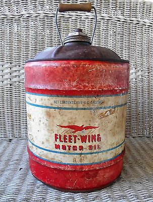 ANTIQUE 5 GALLON FLEET-WING MOTOR OIL TIN CAN VINTAGE GAS STATION Wooden Handle