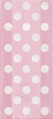 20 Lovely Pink Party Cellophane Bags Polka Dot Cello Bag Baby Shower Girls