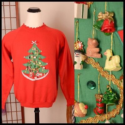 vtg 80s *OLD TIME CHRISTMAS* grandma 3-D dangling ornament UGLY XMAS SWEATER XL