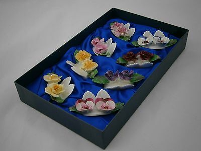 Aynsley Hand-Modelled Hand-Painted Fine Bone China 8 Place Card Holders