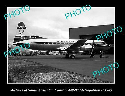 OLD LARGE HISTORIC PHOTO OF AIRLINES OF SOUTH AUSTRALIA PLANE, ca 1969