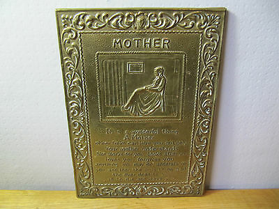 Antique Brass Mother Wall hanging Plaque, Vintage Retro