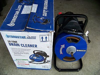 HYDROSTAR Electric Main Drain Pipe Cleaner Sewer Snake Auger Power Feed 50 ft.