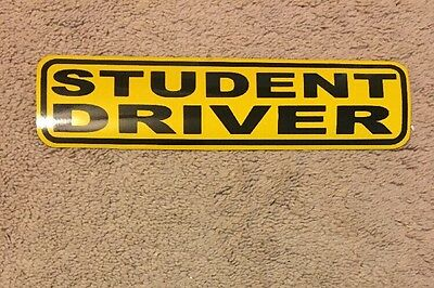 "Student Driver Magnetic Sign Yellow Reflective 3"" X 12"""