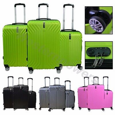 3 Pcs ABS Hard Suitcase Spinner Set Travel Bag Trolley Wheels Luggage Coded Lock