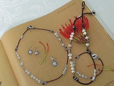 SILPADA N1063 Brown Leather Sterling Silver & Freshwater Pearl Necklace & Button