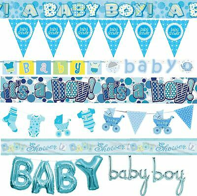 Blue Baby Shower Banner Boy Banners Party Decorations Foil Jointed Bunting