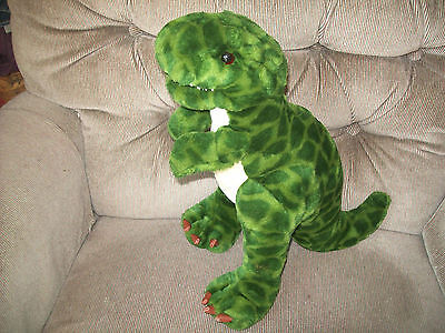 """Toysrus Animal Alley T-Rex Dinosaur 15"""" Mottled Green Plush Faux Leather Toes EC"""