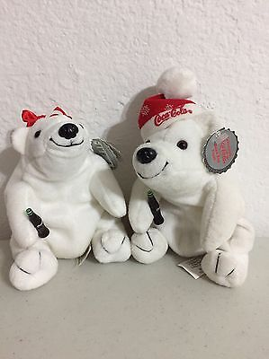 1997 Cocoa-Cola Bean Bag Plush Stuffed Bears-Set of 2