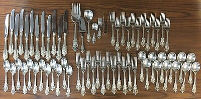 Wallace Grand Baroque Sterling Silver Service For 12 Flatware Set 66 Pieces