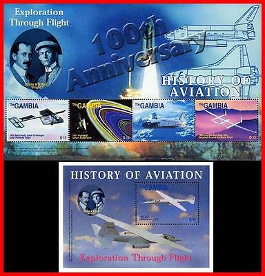 Gambia 2003 Space & Planes // Wright Brothers S/s + M/s Mnh Astronomy