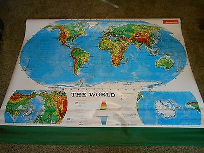 Rand McNally School Pull Down Map Special large World Map