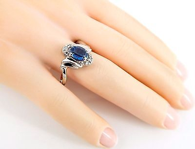 Simple 14k Sapphire Diamond Ring--Really Nice Natural Clear Sapphire