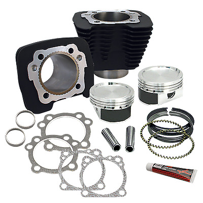 S&s 883 To 1200 Piston & Cylinder Conversion Kit Harley 1986-'17 Xl 910-0296 Blk