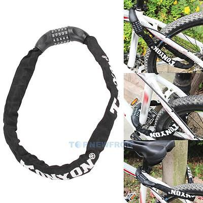 Bike Motorcycle Scooter Security Chain Pad 5 Digit Combination Steel Cable Lock
