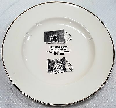 CITIZENS STATE BANK MORLAND, KANSAS 75th Anniv. 1906-1981 COLLECTOR PLATE