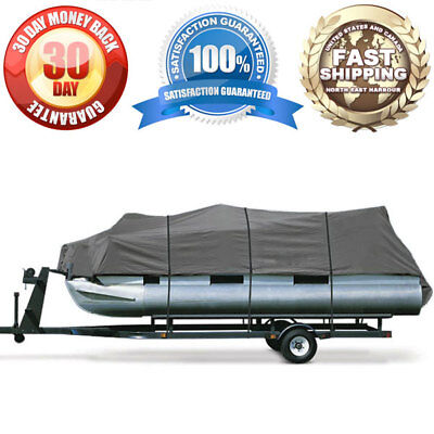 Heavy Duty Trailerable Pontoon Boat Cover Outdoor Storage Winter Protection Gray