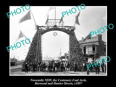 OLD LARGE HISTORICAL PHOTO OF NEWCASTLE NSW, CENTENARY COAL ARCH, HUNTER St 1897