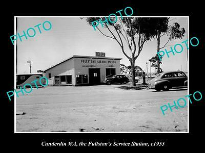 OLD HISTORIC PHOTO OF CUNDERDIN WEST AUSTRALIA, FULLSTONS SERVICE STATION c1955
