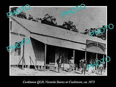 OLD LARGE HISTORIC PHOTO OF COOKTOWN QLD, VIEW OF THE VICTORIA STORES c1872