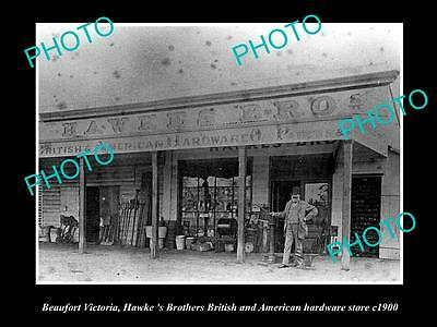 OLD LARGE HISTORICAL PHOTO OF BEAUFORT VICTORIA, HAWKES HARDWARE STORE c1900