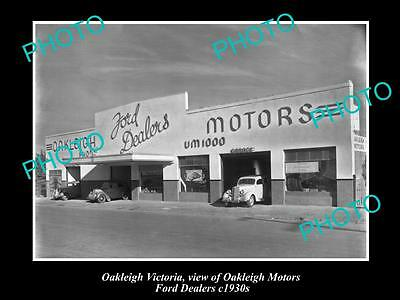 OLD LARGE HISTORIC PHOTO OF OAKLEIGH VIC, OAKLEIGH MOTORS FORD DEALERSHIP 1930s