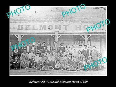 OLD LARGE HISTORICAL PHOTO OF BELMONT NSW, VIEW OF THE OLD BELMONT HOTEL c1900