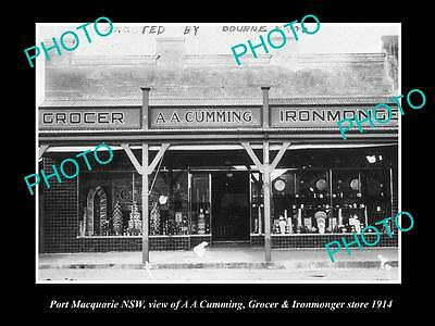 Old Large Historical Photo Of Port Macquarie Nsw, Cummings Merchant Store 1914