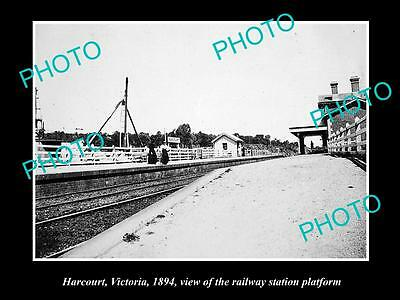OLD LARGE HISTORIC PHOTO OF HARCOURT VICTORIA, VIEW OF THE RAILWAY STATION c1894