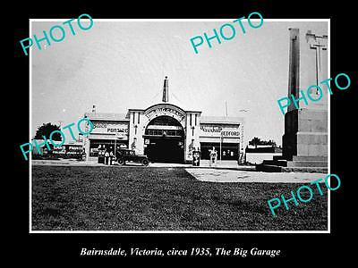 OLD LARGE HISTORIC PHOTO OF BAIRNSDALE VIC, THE BIG GARAGE SERVICE STATION c1935