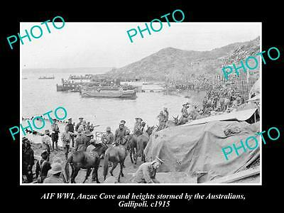 OLD LARGE HISTORIC PHOTO WWI, VIEW OF GALLIPOLI, ANZAC COVE, UNLOADING c1915
