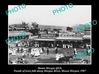 OLD LARGE HISTORIC PHOTO OF MOUNT MORGAN QLD, VIEW OF THE MAIN STREET c1907