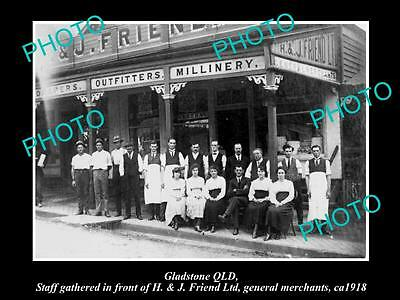 Old Large Historic Photo Of Gladstone Qld, View Of Friends Genral Store 1918