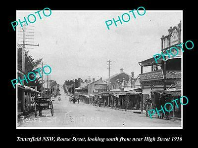 OLD LARGE HISTORICAL PHOTO OF TENTERFIELD NSW, VIEW OF ROUSE STREET c1910