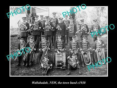 OLD LARGE HISTORIC PHOTO OF WALLABADAH NSW, VIEW OF THE TOWN BAND c1930