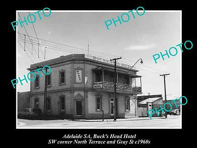 OLD HISTORIC PHOTO OF ADELAIDE SA, THE BUCKS HEAD HOTEL, NORTH Tce c1960s
