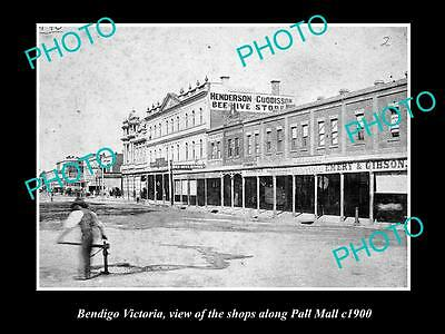 OLD LARGE HISTORICAL PHOTO OF BENDIGO VICTORIA, VIEW OF THE PALL MALL SHOP c1900