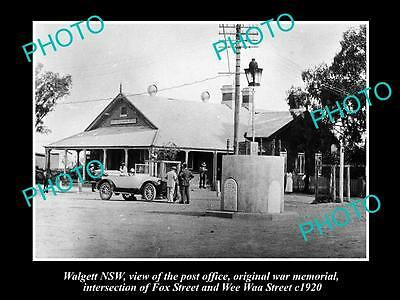OLD LARGE HISTORIC PHOTO OF WALGETT NSW, VIEW OF POST OFFICE ON FOX St c1920