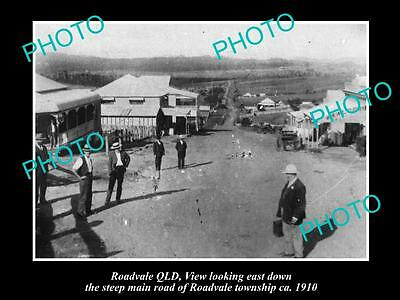 OLD LARGE HISTORIC PHOTO OF ROADVALE QLD, VIEW OF THE MAIN STREET c1910