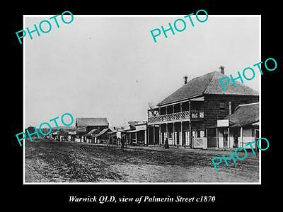 OLD LARGE HISTORIC PHOTO OF WARWICK QUEENSLAND, VIEW OF PALMERIN STREET c1870