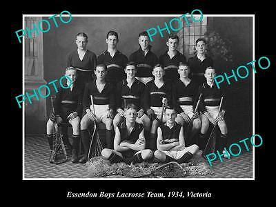 OLD LARGE HISTORICAL PHOTO OF THE ESSENDON BOYS LACROSSE TEAM c1934, VICTORIA