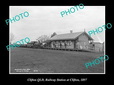 OLD LARGE HISTORIC PHOTO OF CLIFTON QLD, VIEW OF THE RAILWAY STATION c1897