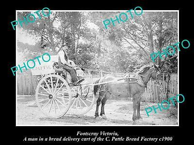Old Large Historical Photo Of Footscray Victoria, Pattle Bread Factory Cart 1900
