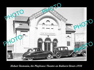 OLD LARGE HISTORIC PHOTO OF HOBART TASMANIA, VIEW OF THE PLAYHOUSE THEATRE c1930