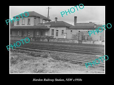 OLD LARGE HISTORIC PHOTO OF HARDEN NSW, VIEW OF RAILWAY STATION c1950s